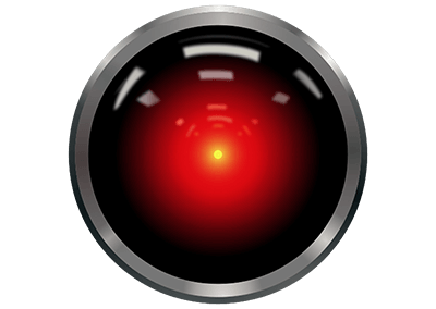 """The red camera eye of HAL 9000 from Stanley Kubrick's movie """"2001: A Space Odyssey."""""""